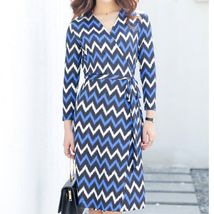 Fashion dress Women's wavy striped mid-length skirt with waist down and thin blue wrapped skirt