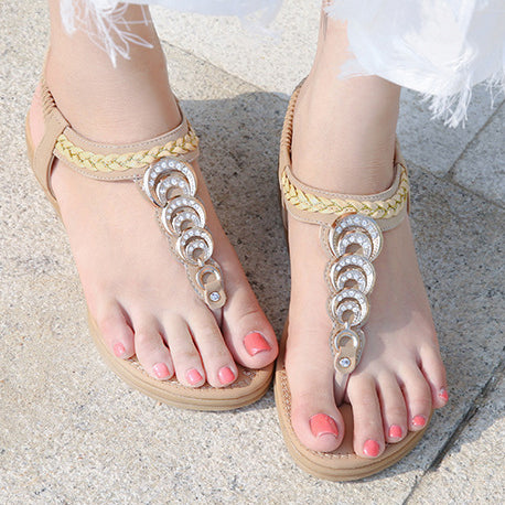 Selling Fashion Women's Sandals New Braided Metal Drill-button Women's Shoes Apricot