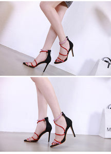 Fashion sandals, open toes, color-matching ribbons, sexy slender, super high heel nightclub shoes