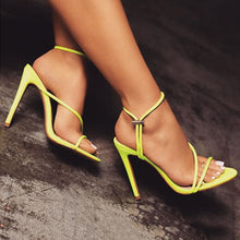Fashion fluorescent open-toed slim high-heeled women's sandals wish cross-border explosive large-size women's shoes trend Green