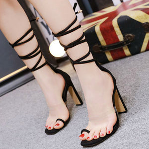 Fashion square-headed transparent sandals with cross-straps, thick and super-high heels