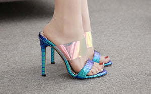 Sexy Slender High-heeled Shoes with Coloured Fish Mouth
