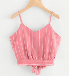 Summer Popular Women Sexy Stripe Sleeveless Sling Vest Top Pink