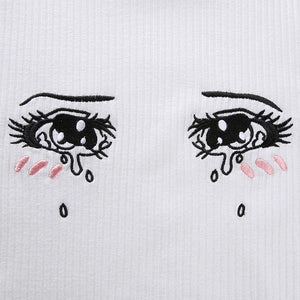 Summer Hot Sale Women Casual Tears Comic Eye Embroidery Short Sleeve Crop Top T-Shirt