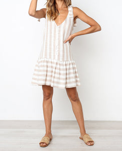 Hot-selling cotton-linen striped sleeveless casual single-row button dress