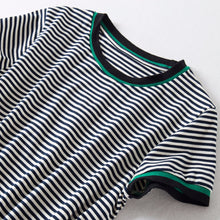 Hot-selling new colour-stringing striped casual dress with slim waist and short sleeves in pure cotton