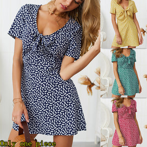 Fashion Printed V-collar Short-sleeved Dresses with New Spring and Summer Fashion