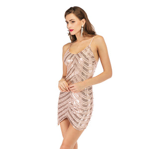 Fashion elastic sequined skirt sexy open-backed Beaded suspended dress