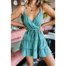 Summer Beach Dress Halter Dress Sexy Deep V Collar Sleeveless Floral Print Dress Sky Blue