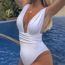 Fashionable Sexy Deep V-pleat Suspender for Women's Swimming Dresses