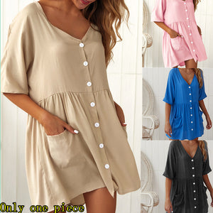 Fashionable new V-neck pocket short dress