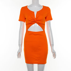Summer Sexy Women Candy Color Short Sleeve V Collar Low Chest Slim Dress Orange