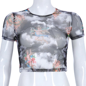 Summer Trending Women Sexy Angel Print Short Sleeve Mesh Crop Top T-Shirt Apricot
