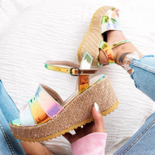 Fashion color matching high heel and buckle large size women's sandals