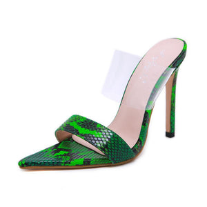 Fashion Ladies Sandals Tip Transparent Film Slim High-heeled Shoes