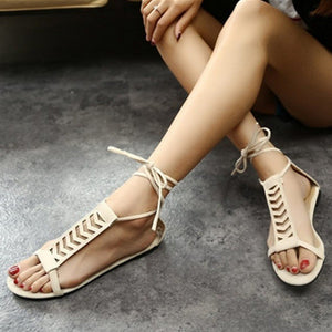 New fashionable large-size hollow cross-strap sandals