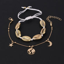 New Summer Women Bohemian Style Metal Shell Woven Anklet Map Two-Piece Anklet Set