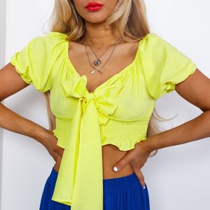 Hot Sale Women Casual Short Sleeve V Collar Bownknot Backless Crop Top Orange Red