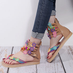 Fashion hotspot sandals women summer new flower thick sole toe clip women's shoes