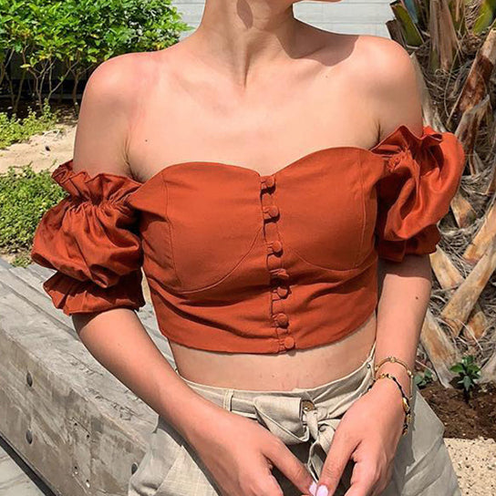 Hot selling women's wear a word shoulder top selling arm button wrap Top