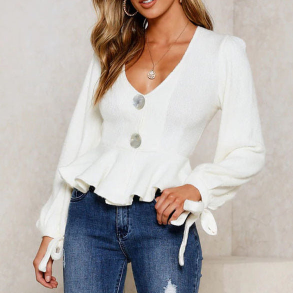 Fashionable deep V knit blouse with button cuffs and bow hem Top