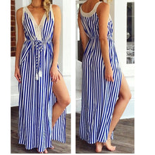 Fashionable Sexy Dress Dresses with Long Sash and Stripe Printing