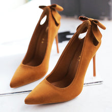 Hot selling sexy women's shoes pure color bow velvet pointed heel high heels  Army Green