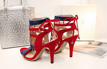 Fashion sandals, high heels, lace, fish mouth, hollow high heels and large women's sandals