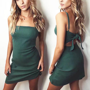Fashionable sexy backless bow dress beach skirt green