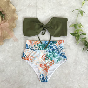 Fashion hot sale knotted breast high waist and thin swimsuit sexy two-piece bikini