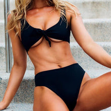 Fashionable sexy bow double-breasted two-piece beach suit