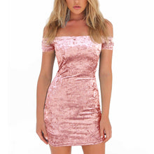 Fashionable pink-blue collar, breast-wipe, mottled velvet, sexy hip-wrapped dress