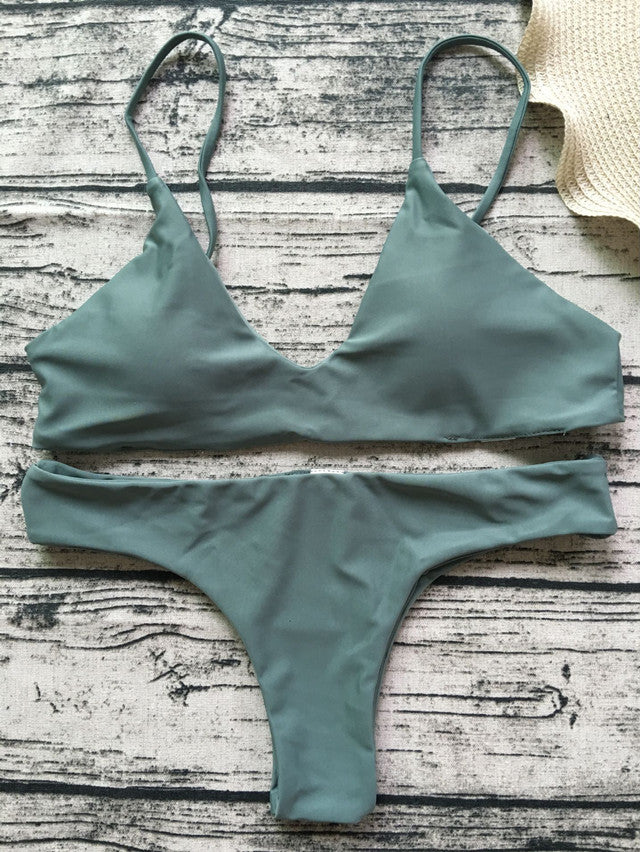 The trend is to sell a full-color, deep V low-waisted swimsuit sexy two-piece bikini