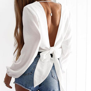 Sexy Popular Women Sexy Long Sleeve V Collar Backless Pure Color Top White