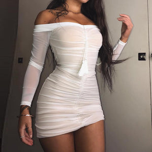Fashionable black-and-white mesh fringed long-sleeved Pleated Dress Sexy hip-wrapped skirt