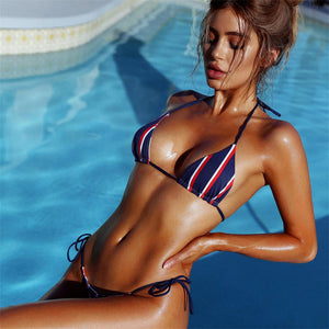 Fashion Sexy bikini top printed three-point blue tie TWO PIECE BIKINI
