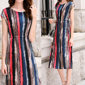 Fashion Sexy Dresses Striped Silk Elegant Dresses