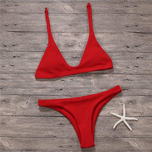 Fashion hot sale simple pure color swimsuit sexy two-piece suit bikini