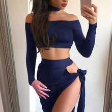 Fashionable sexy tied dress, long sleeve, one-word collar and necklace two-piece suit