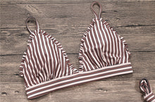 Fashion trend stripes knotted swimsuit sexy two-piece bikini