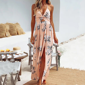 Sexy open-ended beach dress with V-neck Chiffon print dress