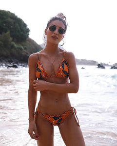 Fashion and fashion flounce print swimsuit sexy band two-piece bikini