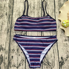 Hot sell fashionable beach stripe a pair of swimsuit sexy bandage two piece bikini