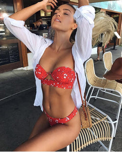 Trendy red floral bathing suit sexy two-piece set with a bikini top