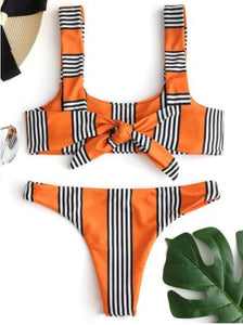 Fashion trend stripes with a simple swimsuit sexy two-piece bikini