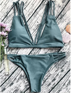 Fashion hot sell vintage print breast knot tie belt swimsuit sexy two-piece bikini