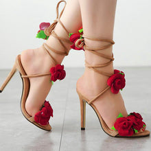 Hot Selling Women's Shoes New Rose Cross Lace Straps High-heeled Sandals