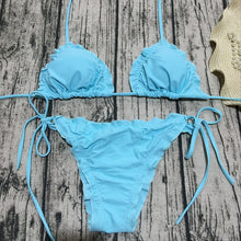 Fashion trend pure color lotus leaf edge band swimsuit sexy two-piece bikini