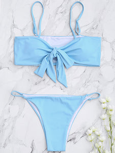 Fashion hot sale chest knot pure color swimsuit sexy pasted two pieces of bikini