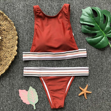 Fashion trend stripe feeling braid swimsuit sexy two-piece suit bikini